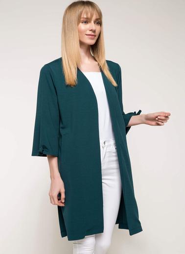 DeFacto Kolları Bağcık Detaylı Uzun Ceket Yeşil